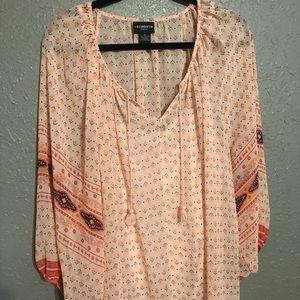 Liz Claiborne 3X Light Pink Pattern Blouse
